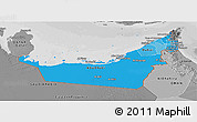 Political Shades Panoramic Map of United Arab Emirates, desaturated
