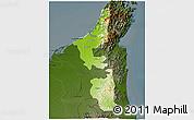 Physical 3D Map of Ras Al Khaymah, darken
