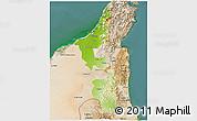 Physical 3D Map of Ras Al Khaymah, satellite outside