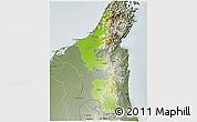 Physical 3D Map of Ras Al Khaymah, semi-desaturated