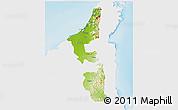 Physical 3D Map of Ras Al Khaymah, single color outside