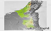 Physical Panoramic Map of Ras Al Khaymah, desaturated