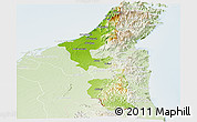 Physical Panoramic Map of Ras Al Khaymah, lighten