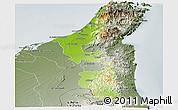 Physical Panoramic Map of Ras Al Khaymah, semi-desaturated