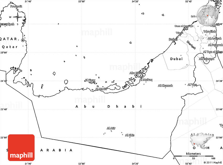 Blank Simple Map of United Arab Emirates
