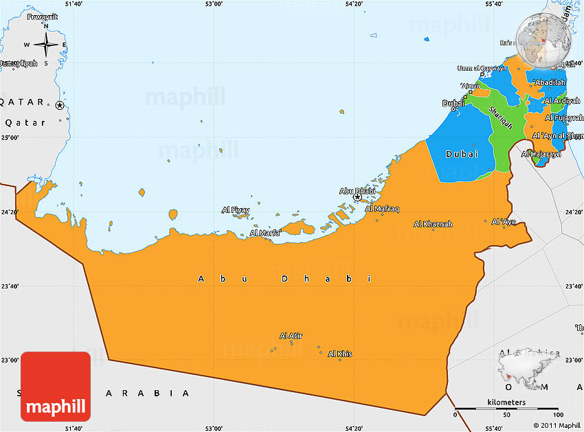 Political Simple Map of United Arab Emirates single color outside