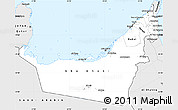 Silver Style Simple Map of United Arab Emirates