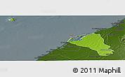 Physical Panoramic Map of Umm Al Qaywayn, darken