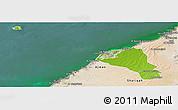Physical Panoramic Map of Umm Al Qaywayn, satellite outside