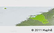 Physical Panoramic Map of Umm Al Qaywayn, semi-desaturated