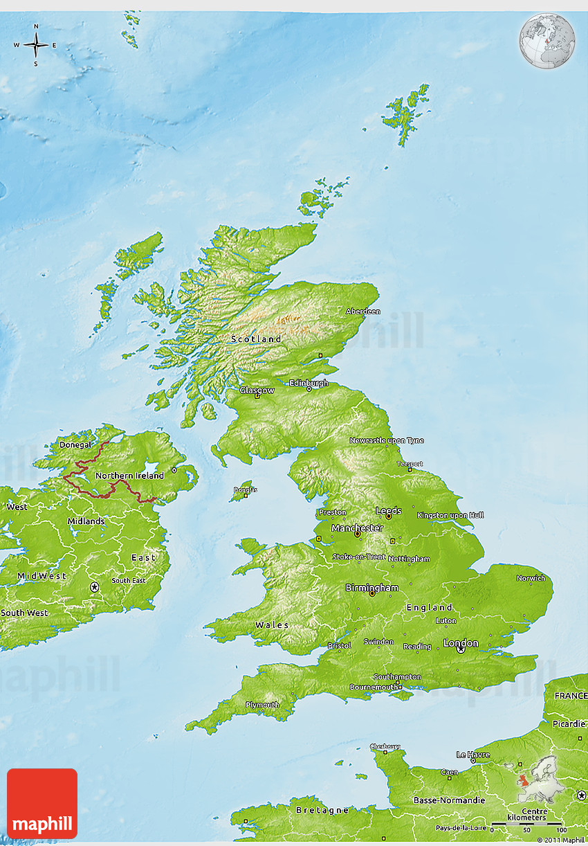 Physical D Map Of United Kingdom - Topographic map of united kingdom