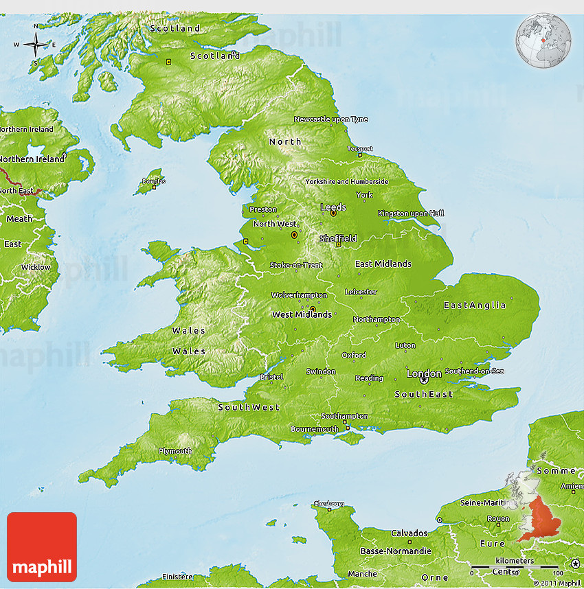 Physical D Map Of England - Map of england
