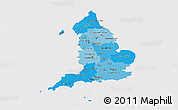 Political Shades 3D Map of England, cropped outside