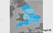 Political Shades 3D Map of England, darken, desaturated