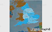 Political Shades 3D Map of England, darken