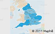 Political Shades 3D Map of England, lighten