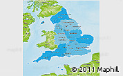 Political Shades 3D Map of England, physical outside