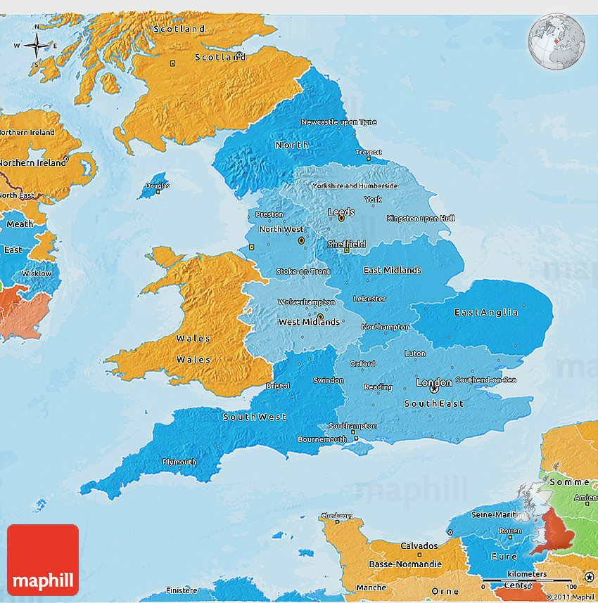 Political Shades D Map Of England - Map of england