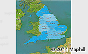 Political Shades 3D Map of England, satellite outside
