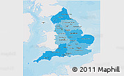 Political Shades 3D Map of England, single color outside