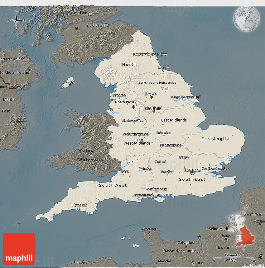 3d Relief Map Of Uk.Shaded Relief 3d Map Of England Darken