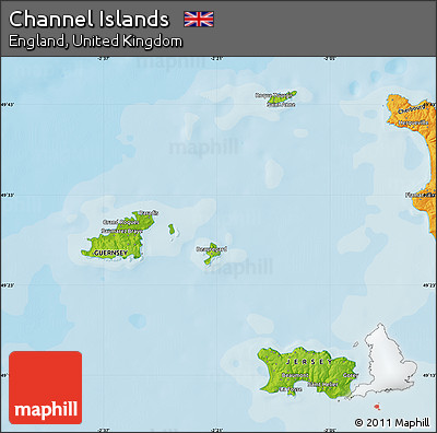Physical Map of Channel Islands, political outside