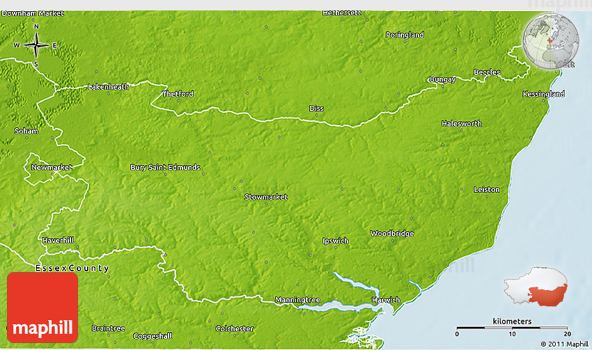 Suffolk County England Map.Physical 3d Map Of Suffolk County