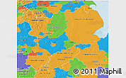Political 3D Map of East Midlands