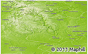 Physical Panoramic Map of Derbyshire County