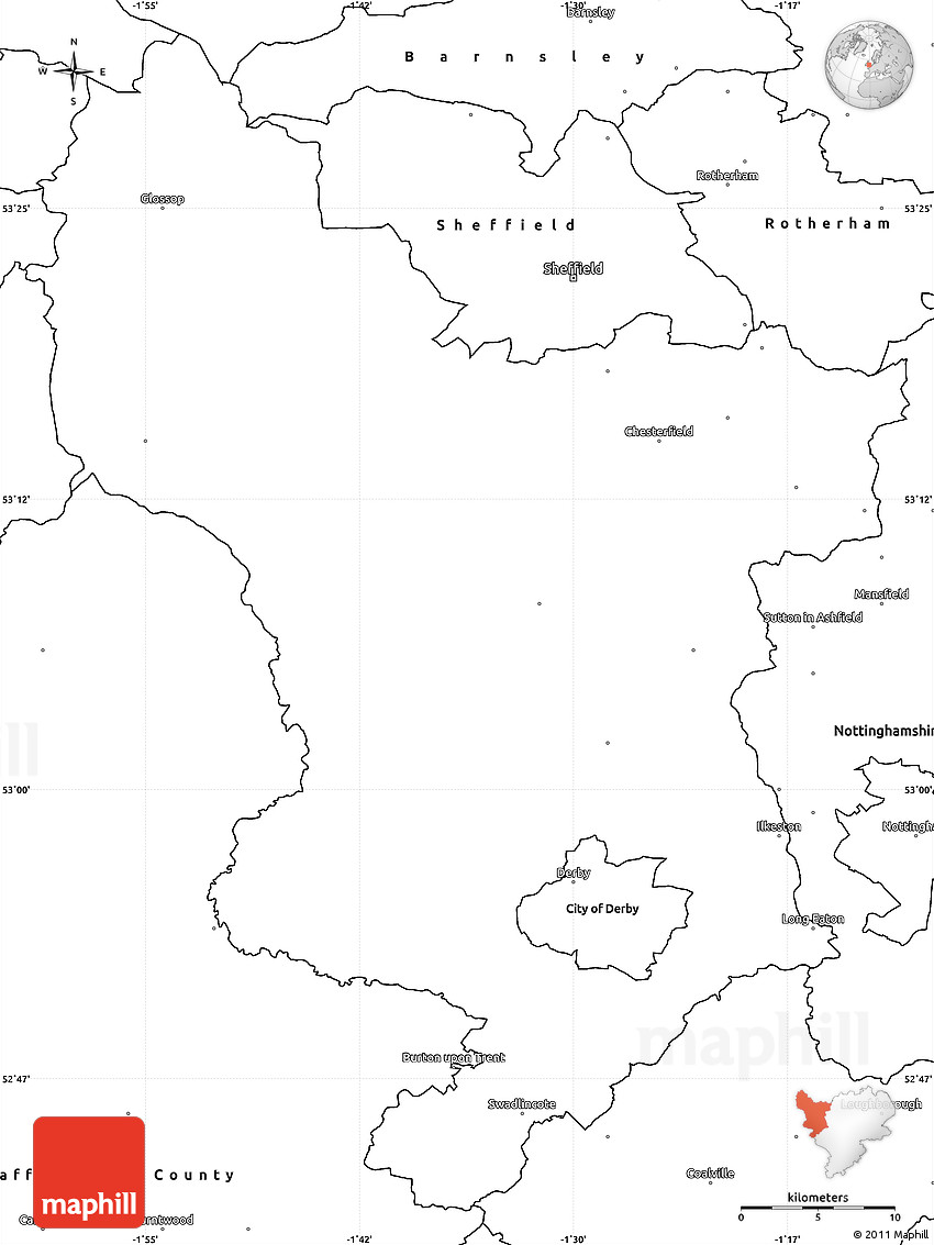 blank simple map of derbyshire county
