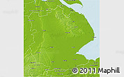 Physical 3D Map of Lincolnshire County
