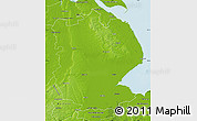 Physical Map of Lincolnshire County