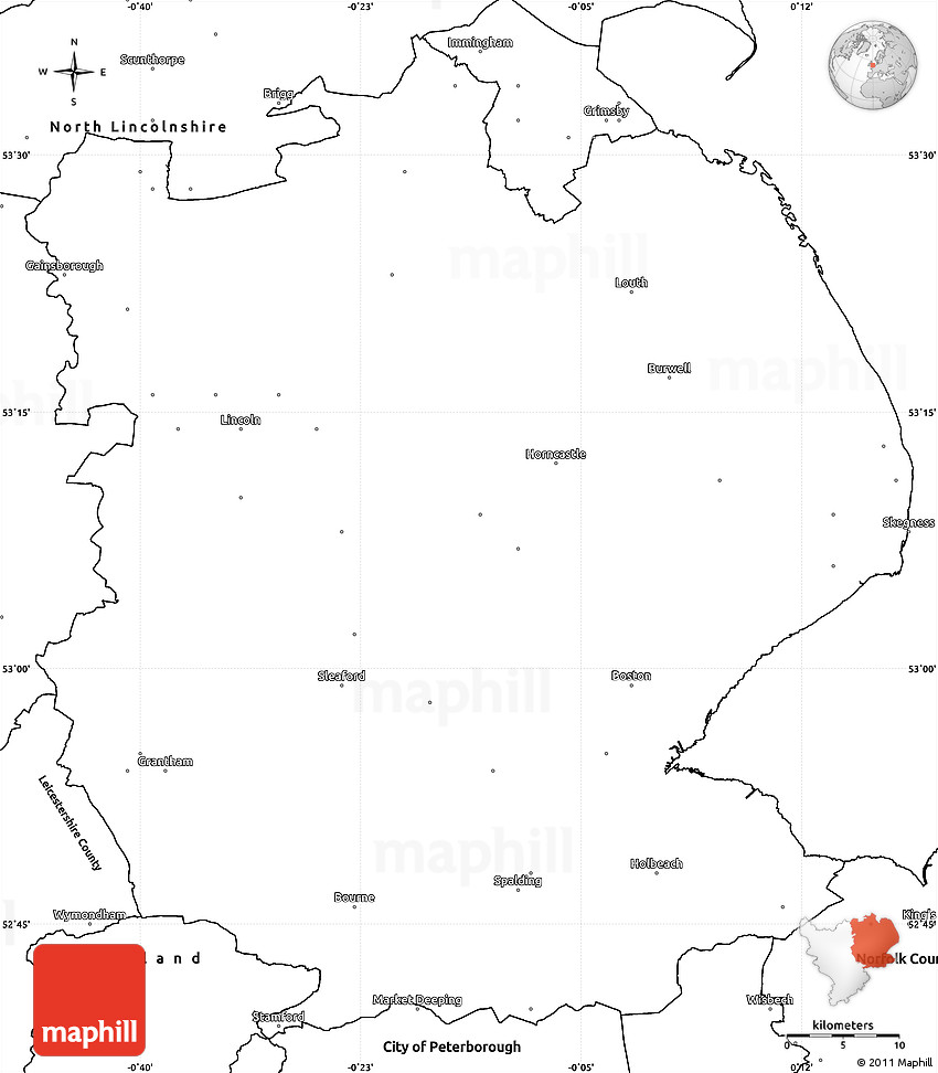 Map Of England Lincolnshire.Blank Simple Map Of Lincolnshire County