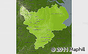 Physical Map of East Midlands, darken