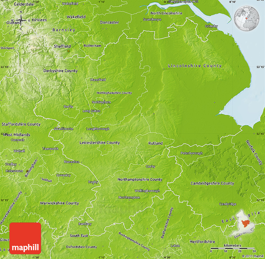 Map Of England Midlands.Physical Map Of East Midlands