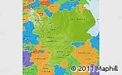 Physical Map of East Midlands, political outside