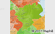 Physical Map of East Midlands, political shades outside