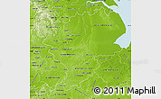 Physical Map of East Midlands