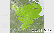 Physical Map of East Midlands, semi-desaturated