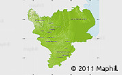 Physical Map of East Midlands, single color outside
