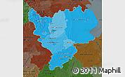 Political Shades Map of East Midlands, darken