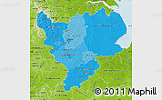 Political Shades Map of East Midlands, physical outside
