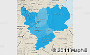 Political Shades Map of East Midlands, shaded relief outside