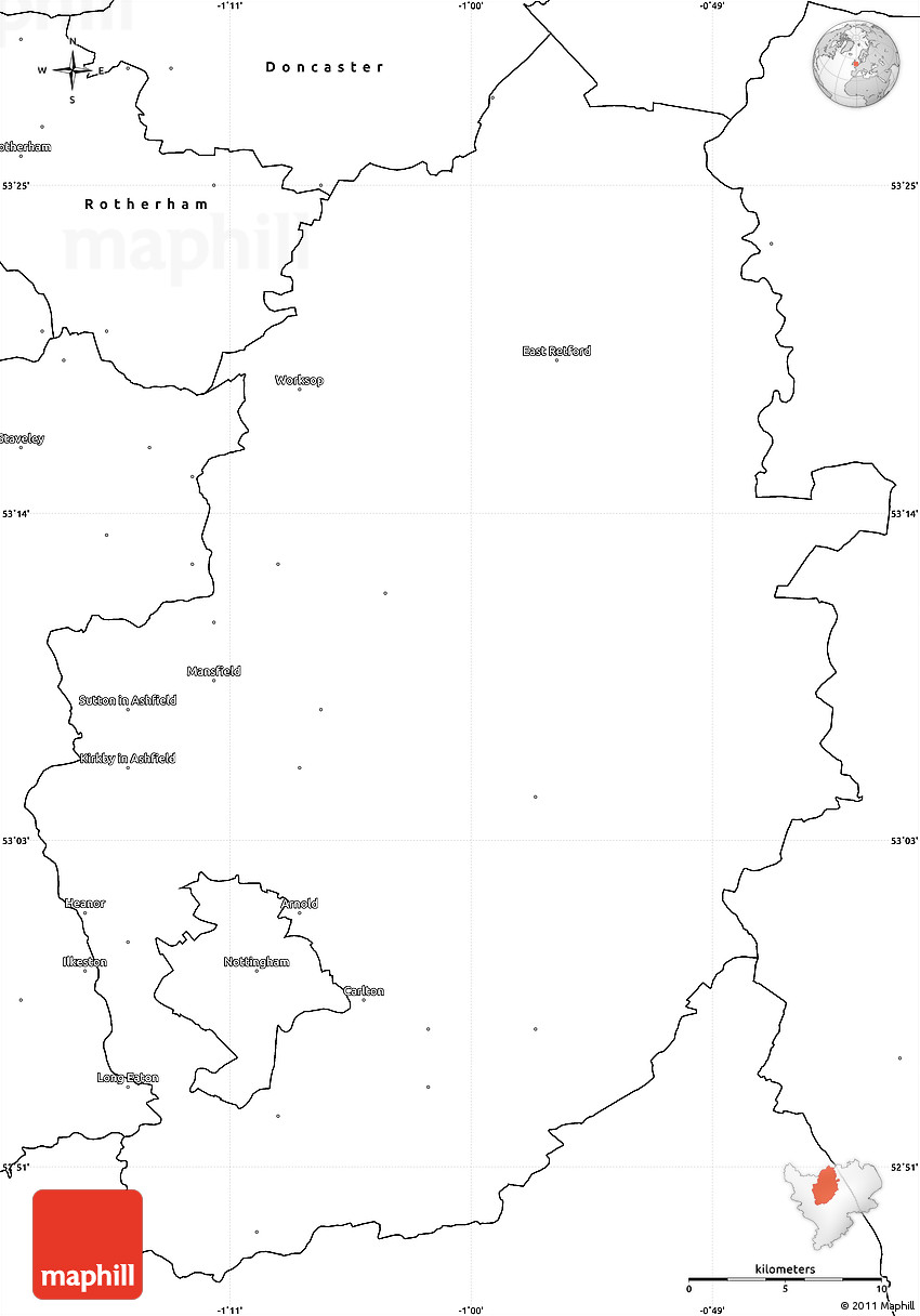 blank simple map of nottinghamshire county