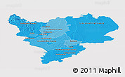 Political Shades Panoramic Map of East Midlands, cropped outside