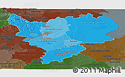 Political Shades Panoramic Map of East Midlands, darken