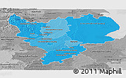 Political Shades Panoramic Map of East Midlands, desaturated