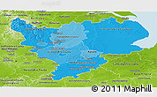 Political Shades Panoramic Map of East Midlands, physical outside