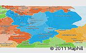 Political Shades Panoramic Map of East Midlands