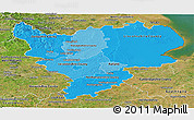 Political Shades Panoramic Map of East Midlands, satellite outside